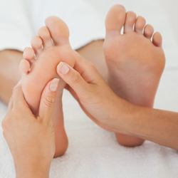 reflexology treatment performed in training