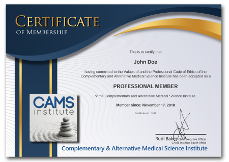 A Sample of the CAMS Certificate